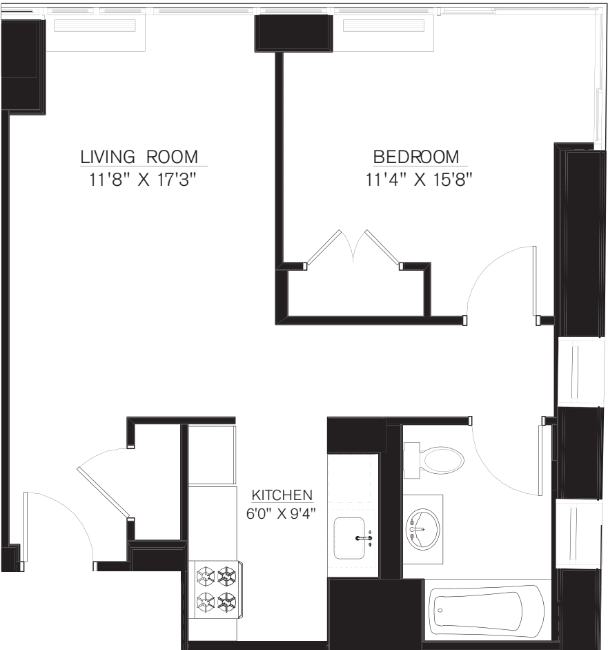 1 bedroom F Line floors 17-41