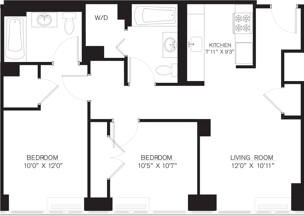 2 Bedroom H Line floors 42-50