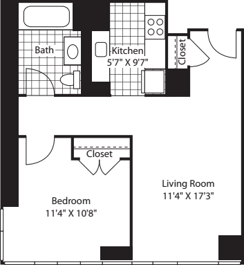 1 Bedroom L Line floors 17-41
