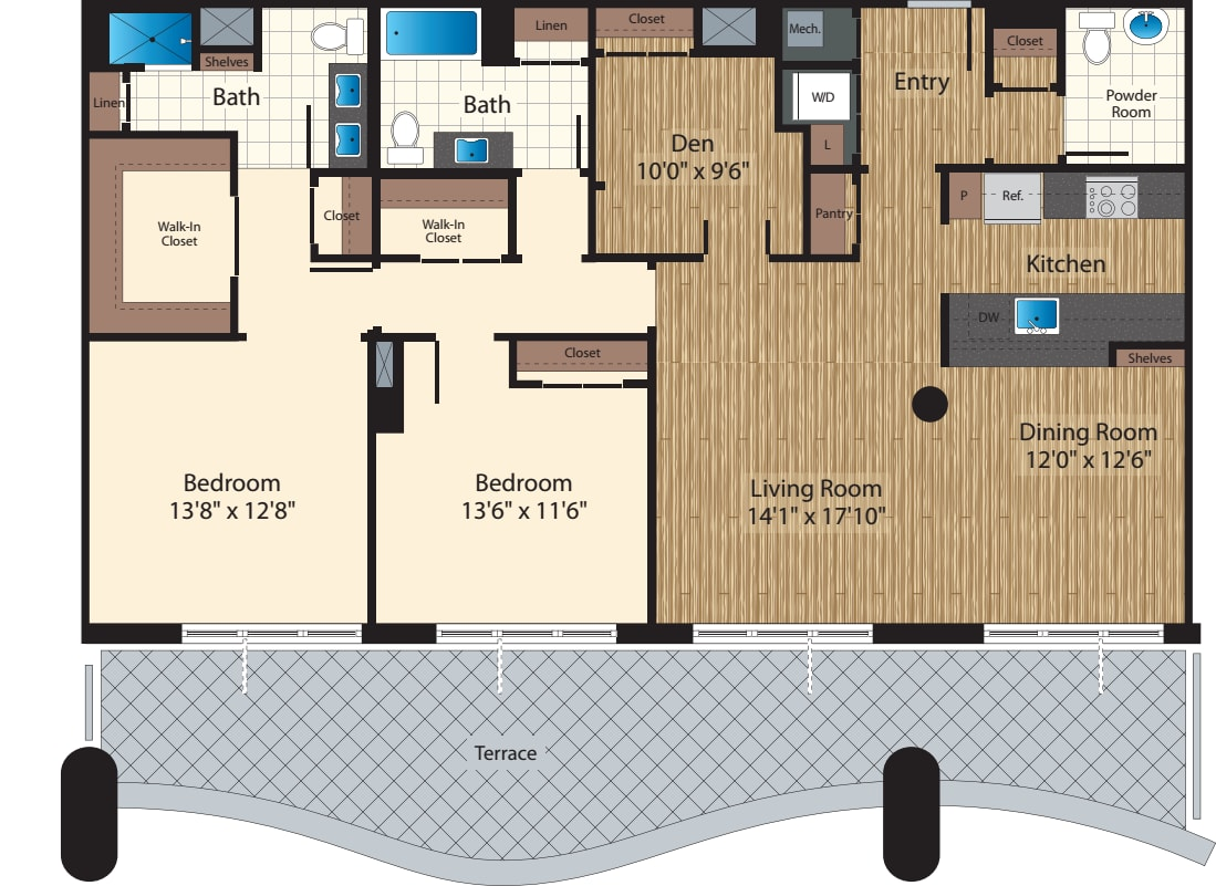 Two Bedroom+Den PH B/1717