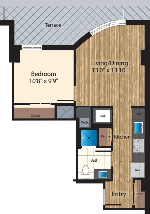 One Bedroom E 732