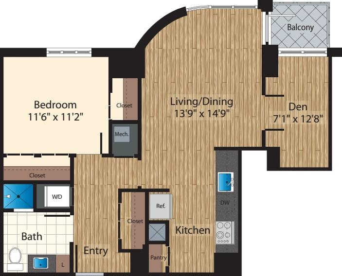 One Bedroom+  Den J 887