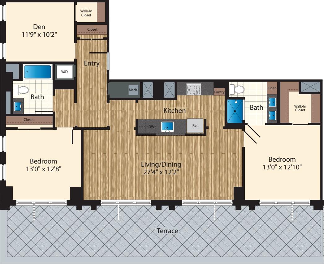 PH Two Bedroom+ Den B 1415