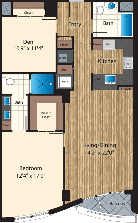 One Bedroom+Den J/1193