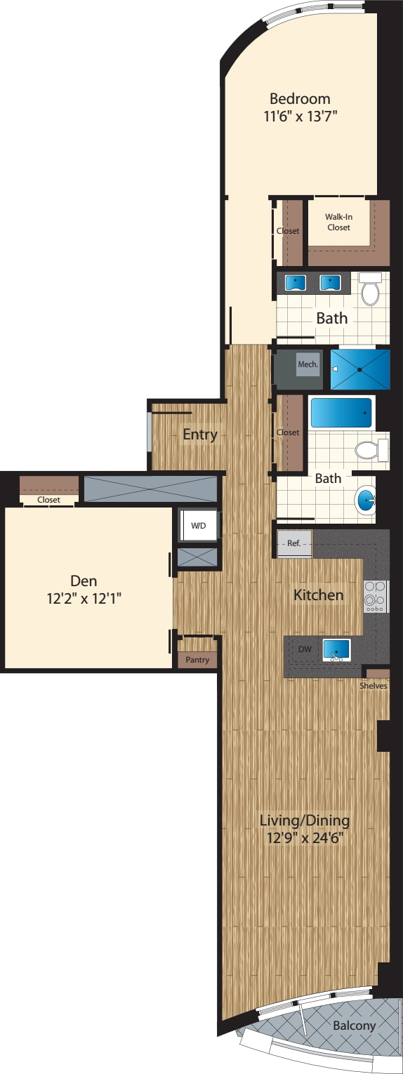 One Bedroom+Den J/1293