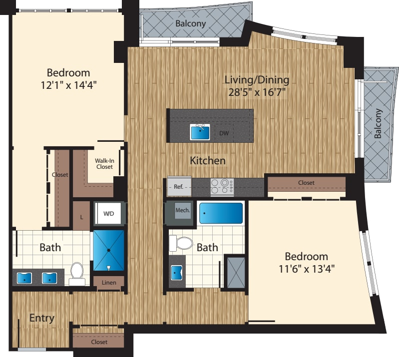 Two Bedroom/  Two Bath H/1340