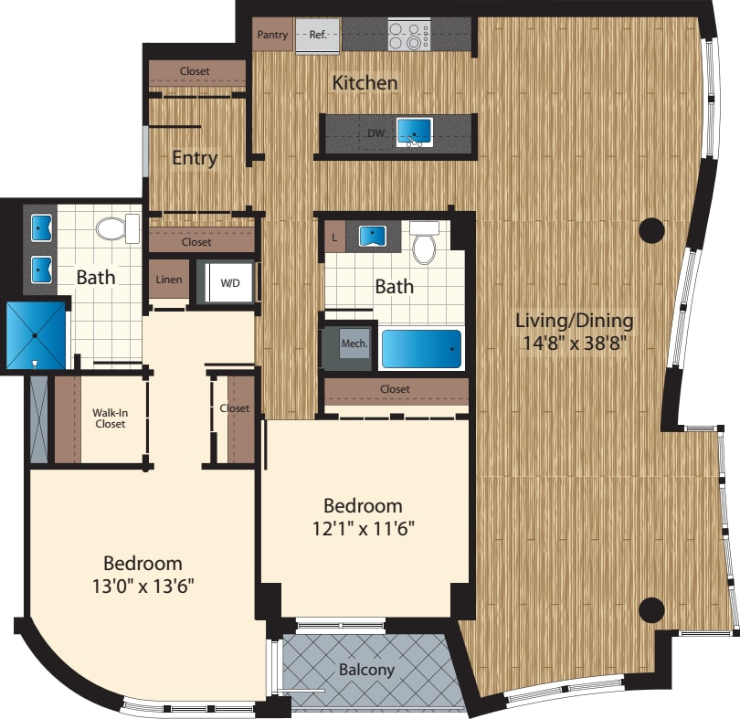 Two Bedroom/  Two Bath H/1493