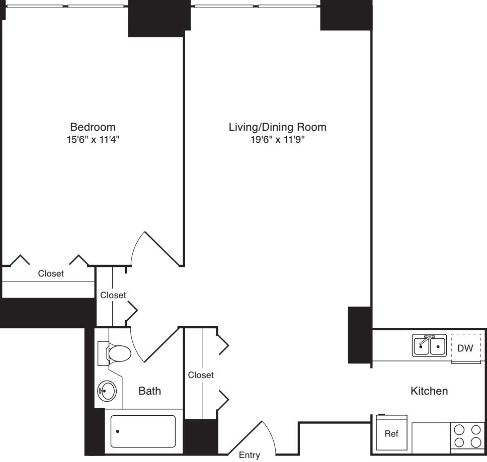 Residence J, floors 3-17