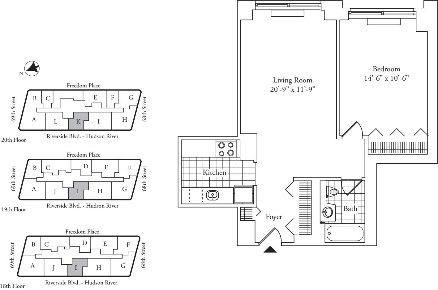 Residence I, floors 18-19 - Residence K, floor 20