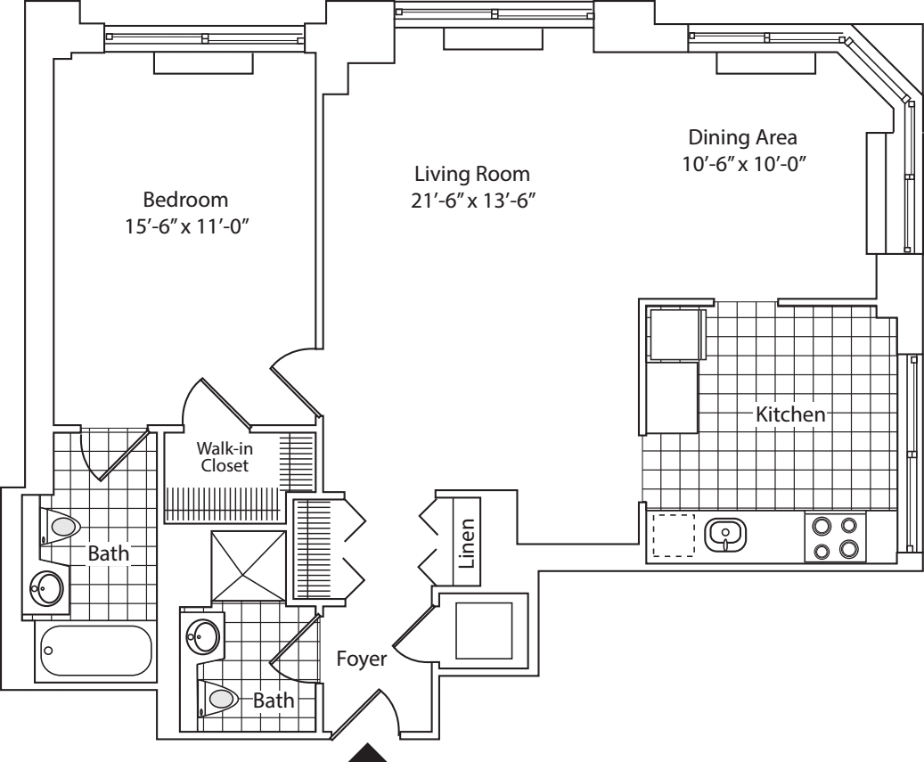Residence A, floors 22-36
