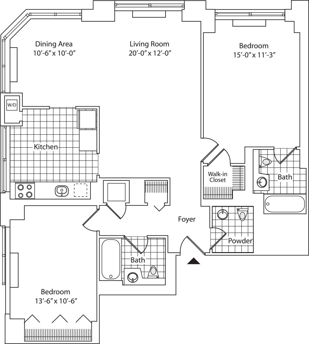 Residence E, floors 22-36
