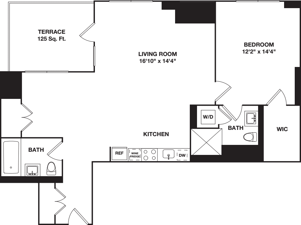 One Bedroom with Alcove 12B
