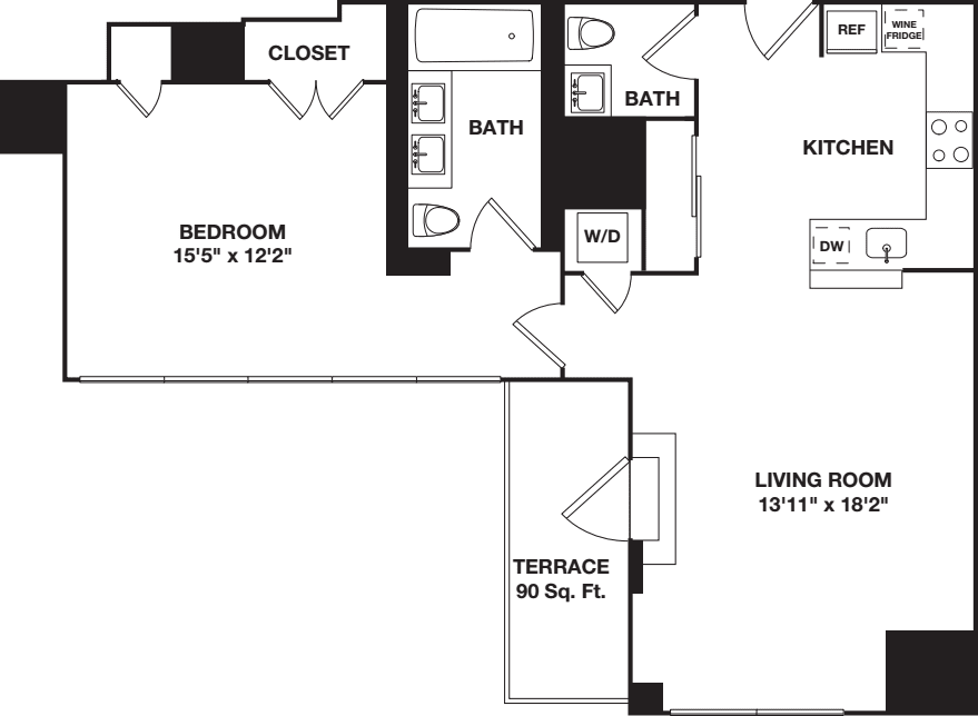 One Bedroom 12F
