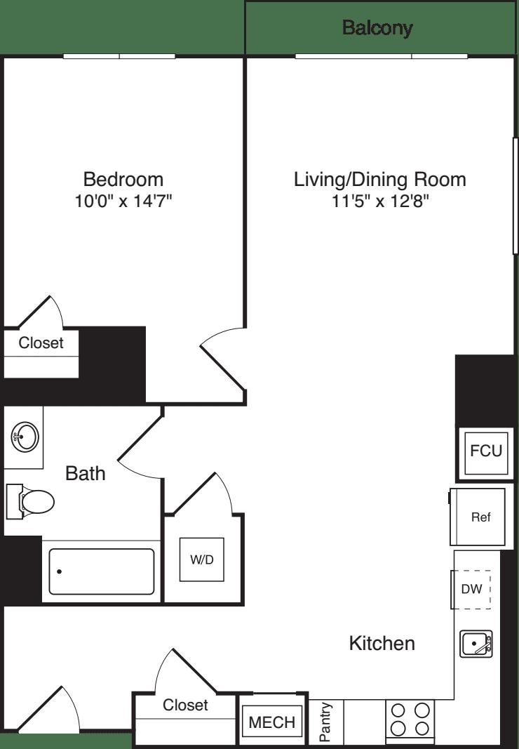 The Flats 1 Bedroom B with Balcony