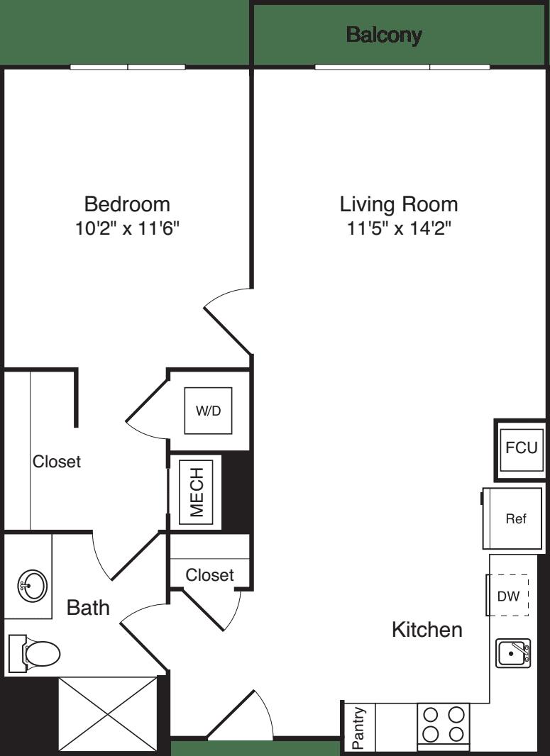 The Flats 1 Bedroom E with Balcony