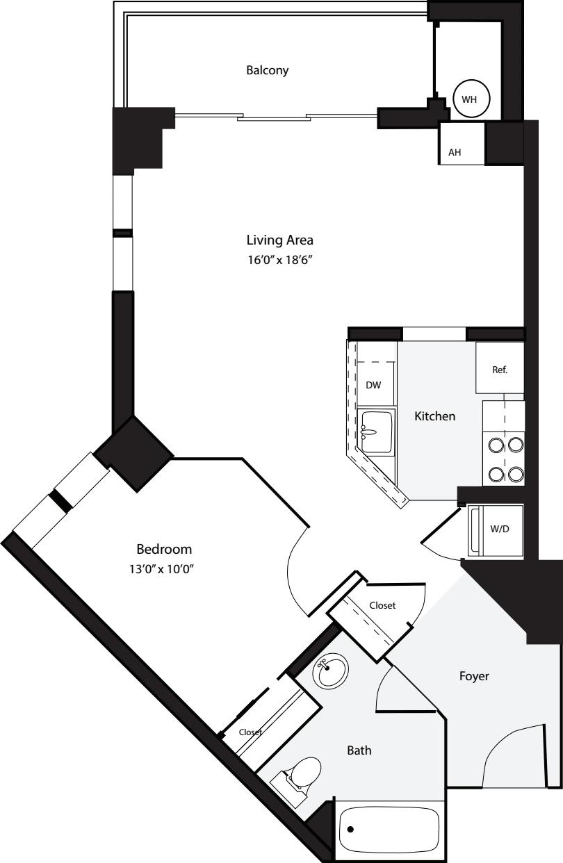 1 Bedroom B no Terrace