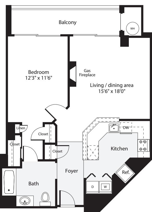 1 Bedroom K no Terrace
