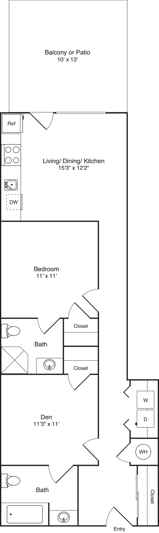 1 Bedroom w/ Den