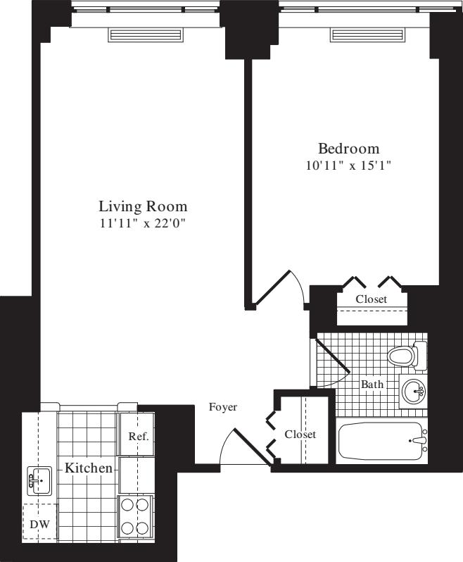 1 Bedroom J - 675