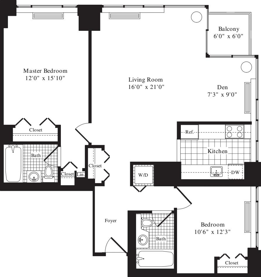 2 Bedroom A - 1140