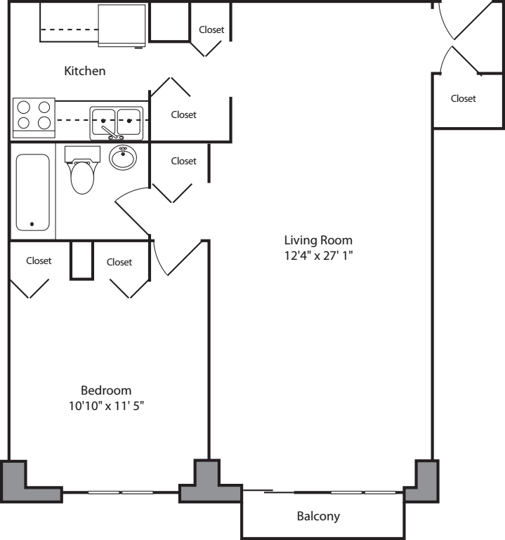 1 Bedroom F w/ Balcony