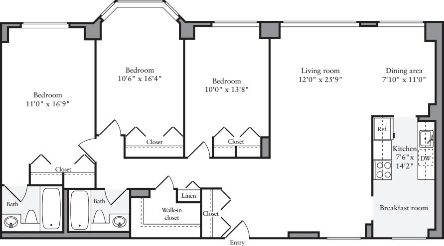 3+ Bedrooms W