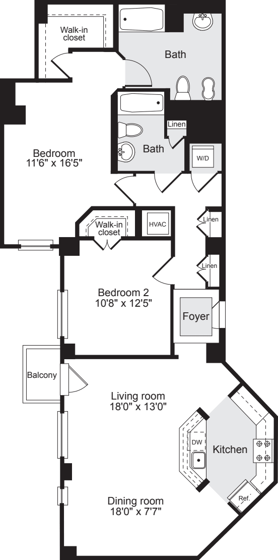 2 Bedrooms Y