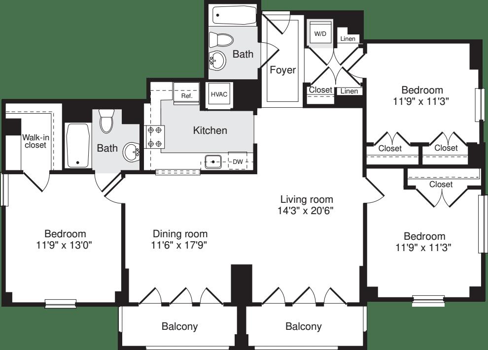 3+ Bedrooms B