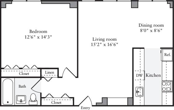 1 Bedroom K Floors 2-4