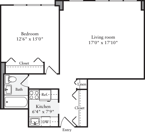 1 Bedroom K - Floors 5-9
