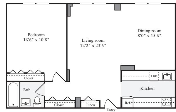 1 Bedroom L - Floors 2-4