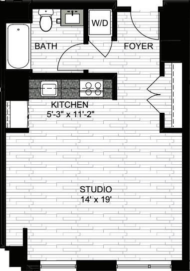 1 Beds 1 Baths 440 Sq Ft Plan 924 7: Avenir Apartments In Boston