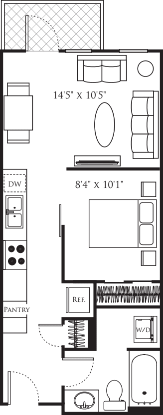 Open 1 Bedroom C