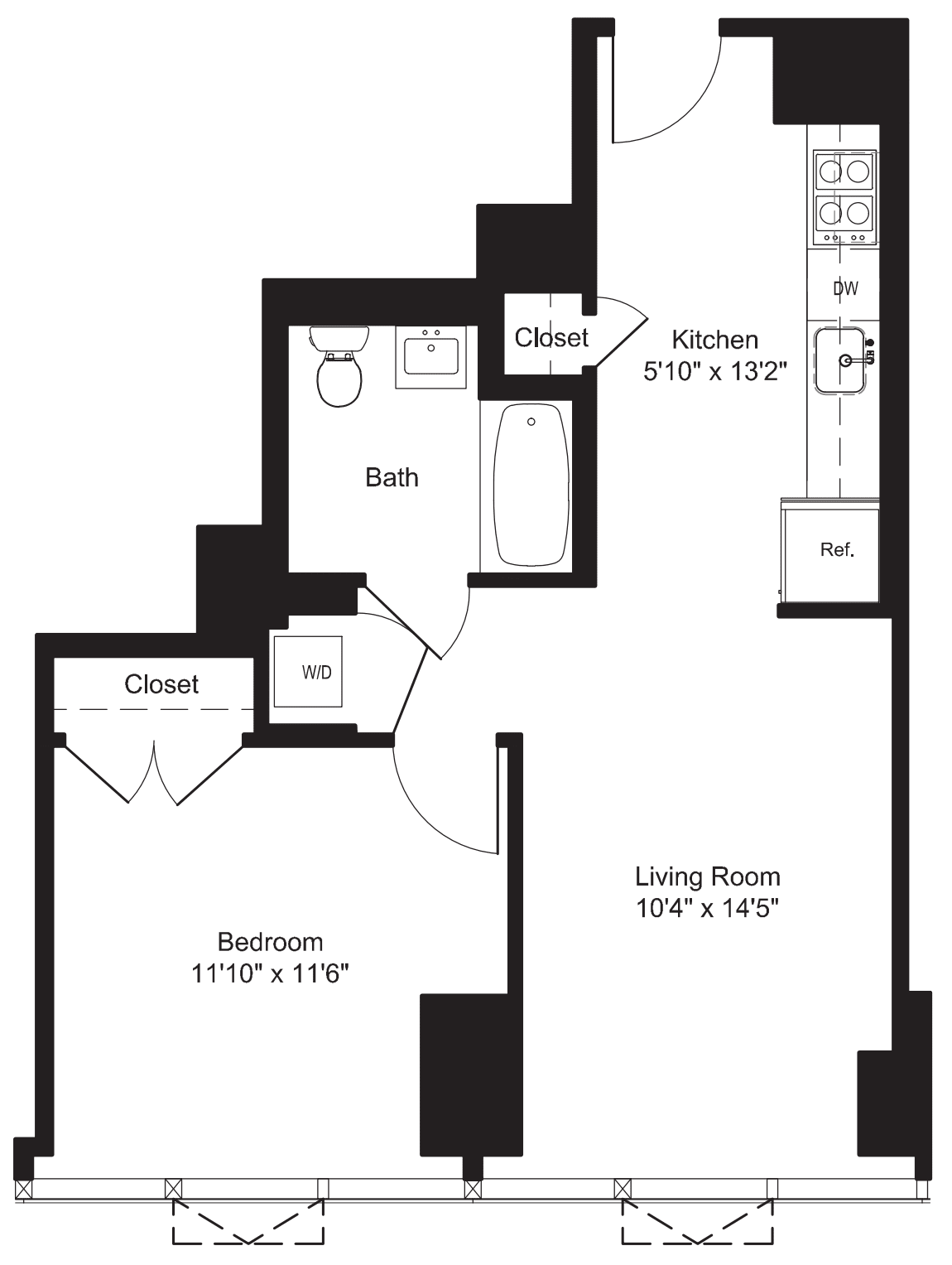 One Bedroom L 2, M 3-6