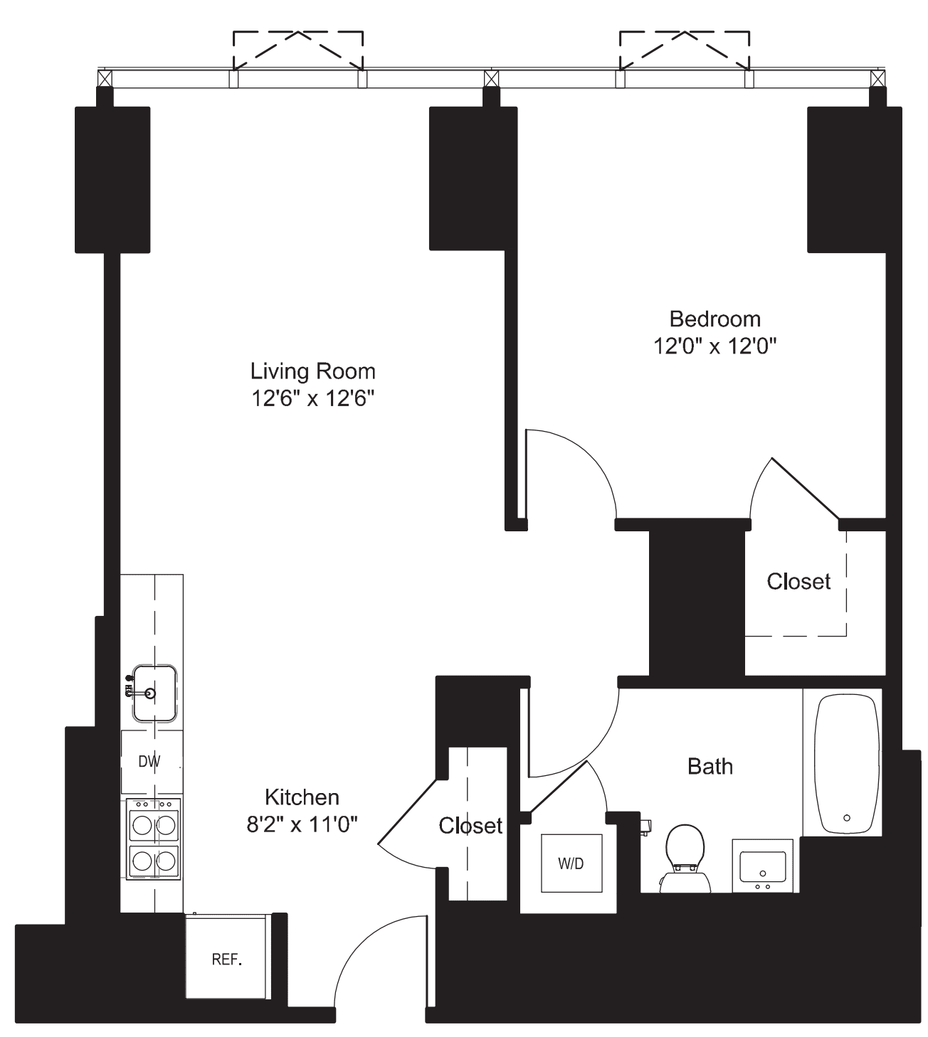 One Bedroom J 3-6, I 7-19
