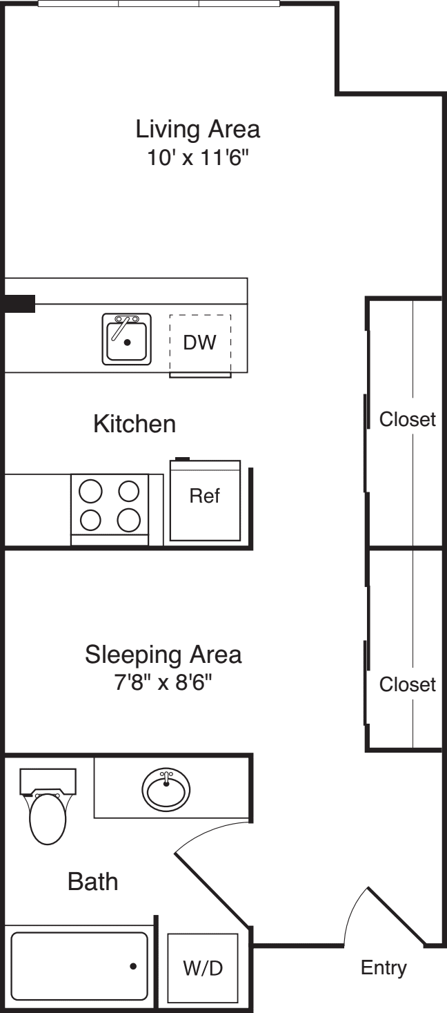 Open 1 Bedroom D