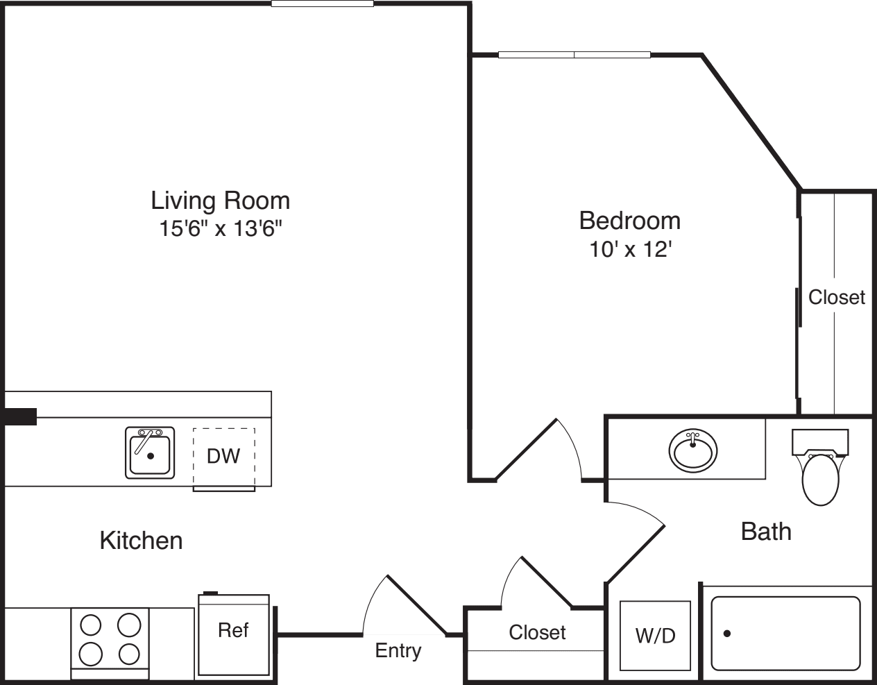 1 Bedroom C no balcony