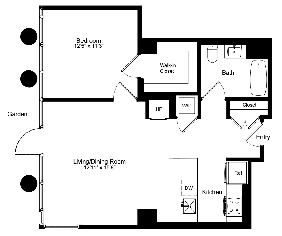 One Bedroom M 1 with Garden Access