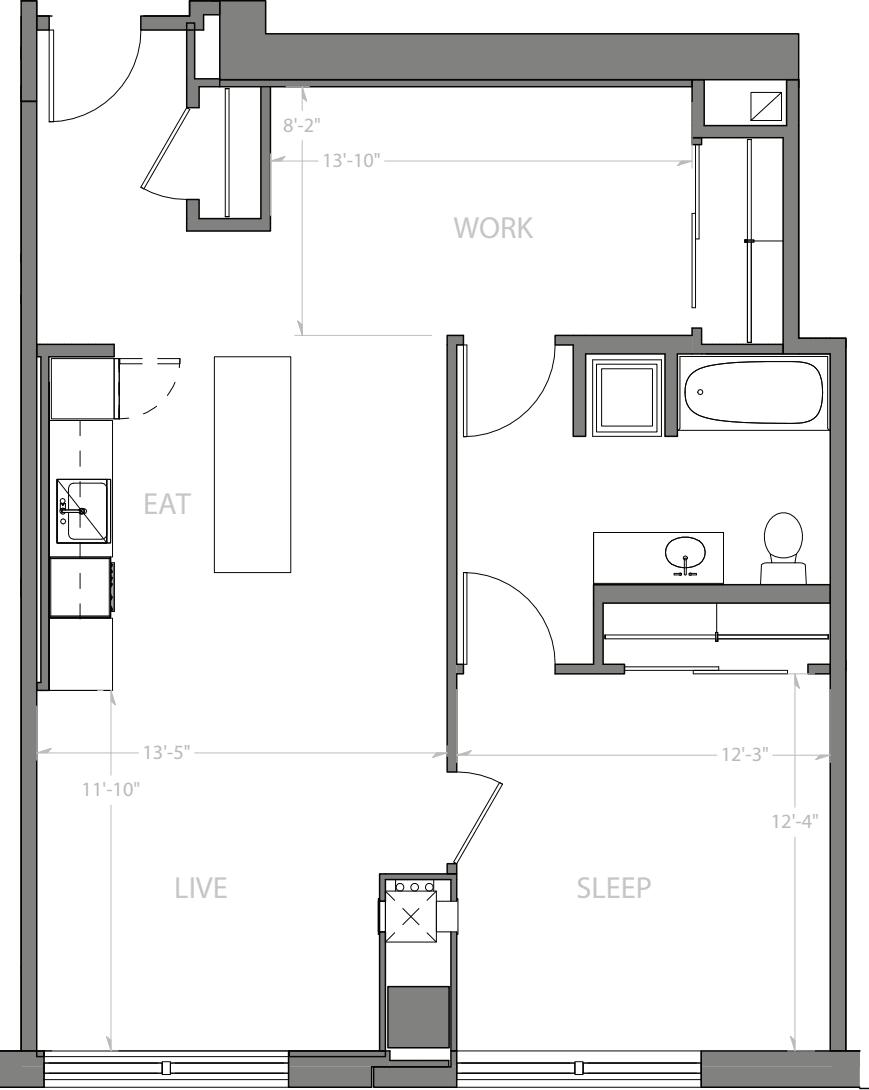 1 Bedroom Q with Den