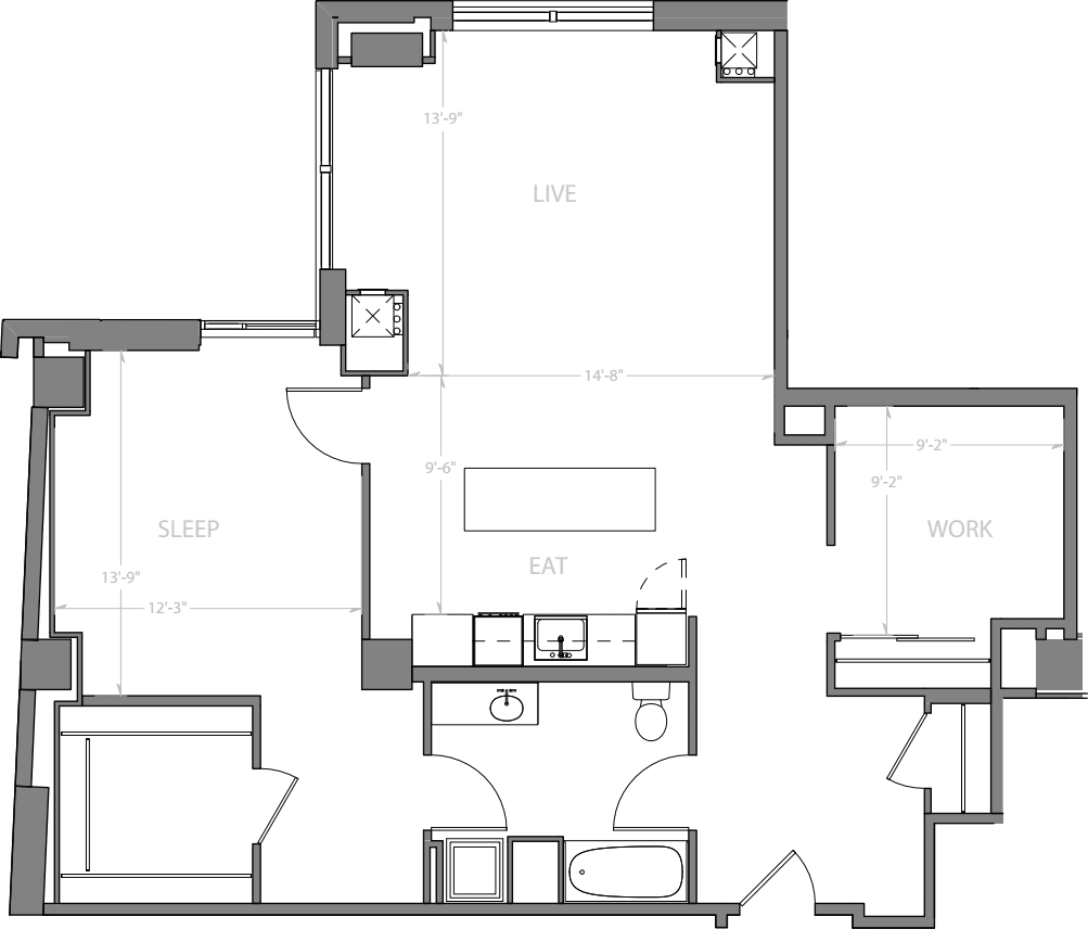 1 Bedroom U with Den