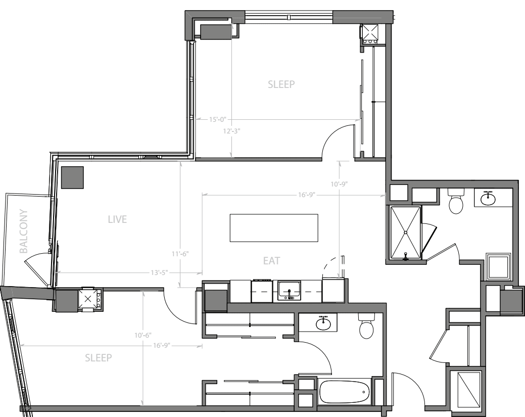 2 Bedroom F with Balcony