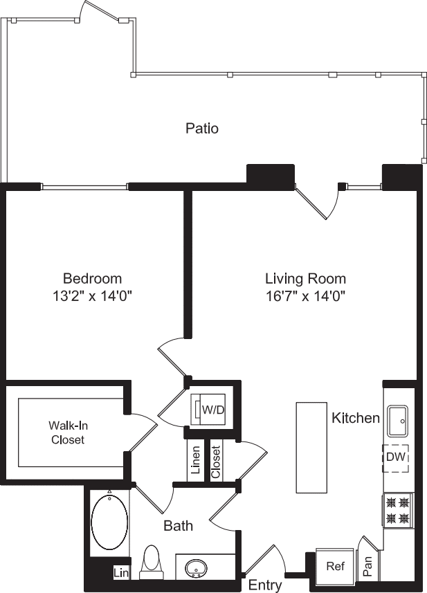 One Bed A1C with Patio