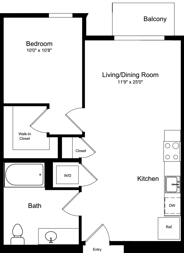 1 Bedroom A with Balcony
