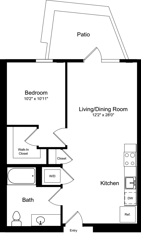 1 Bedroom A1 with Patio