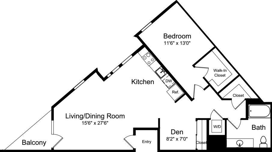 1 Bedroom C with Balcony