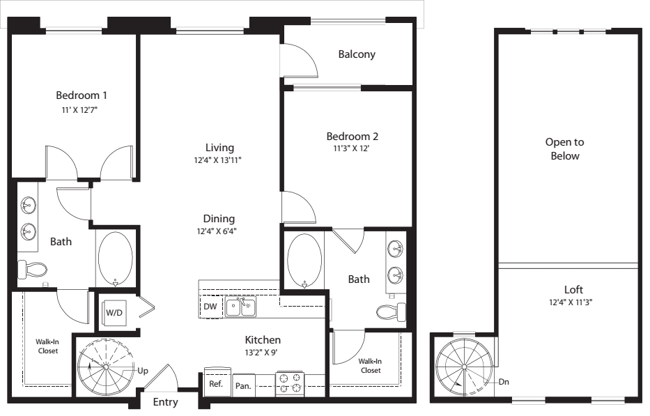 2 Bed- U19 Loft No Storage