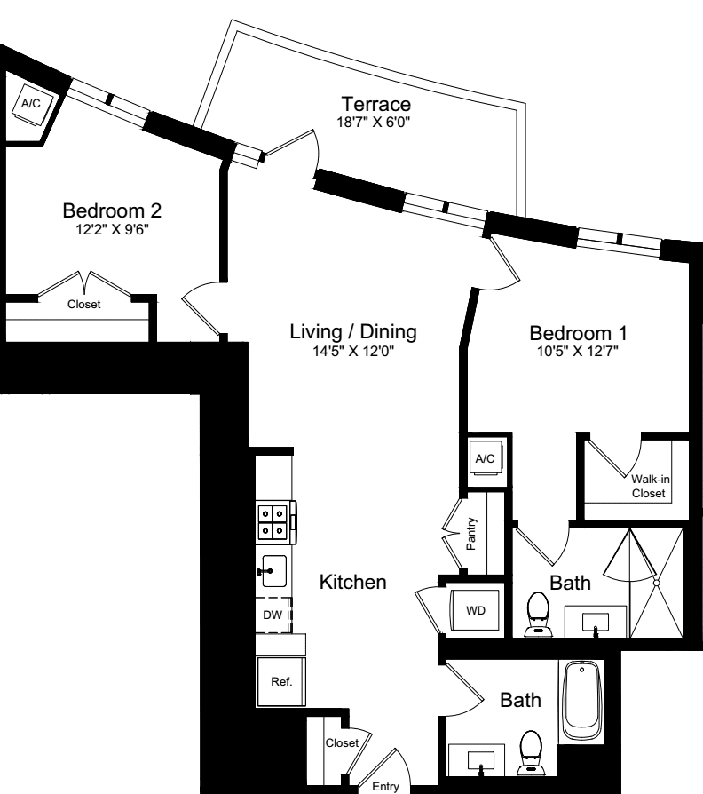 2 Bedroom A with Terrace