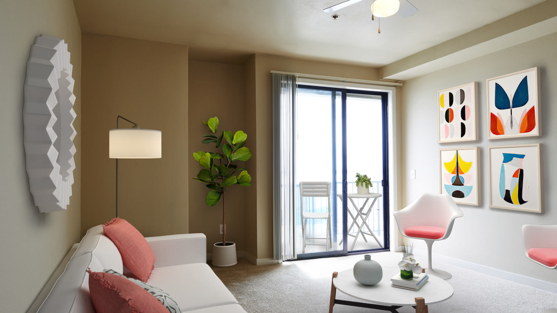 2300 Elliot Apartments - Carpeted Living Room with Private Balcony