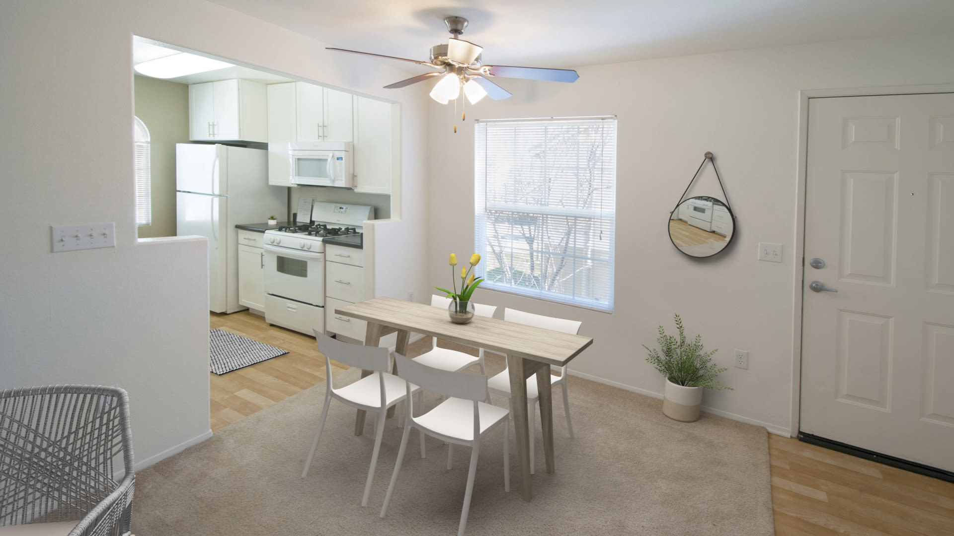 Ridgewood Apartments - Living Room and Kitchen with Hard Surface Flooring