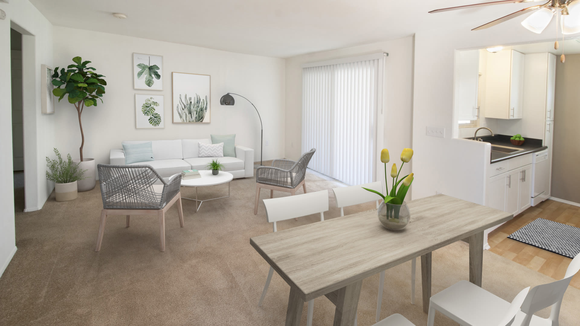 Ridgewood Apartments - Carpeted Living and Dining Room